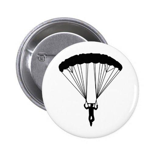 skydiver silhouette pinback button
