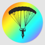 skydiver silhouette round stickers