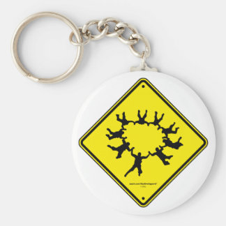 Skydivers Caution Sign Basic Round Button Keychain