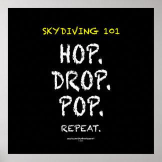 Skydiving 101 - Hop. Drop. Pop. Repeat. Poster