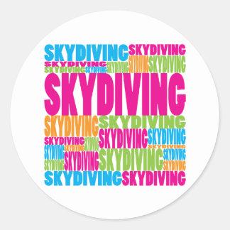Skydiving colorido pegatina redonda