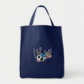 skydiving cow tote grocery tote bag
