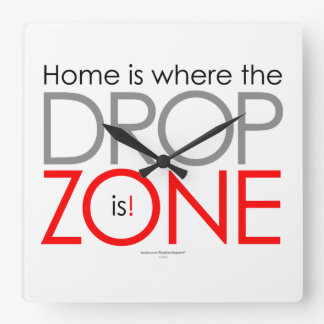 Skydiving Drop Zone Square Wall Clock