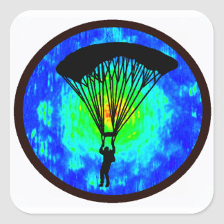 SKYDIVING EARTH VIEW SQUARE STICKER