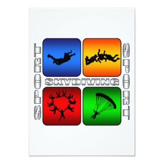 "Skydiving espectacular invitación 5"" x 7"""