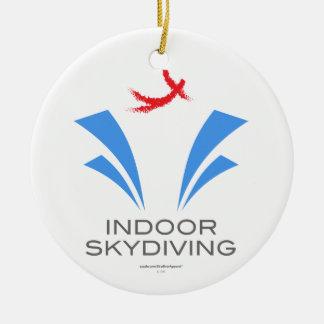 Skydiving interior adorno navideño redondo de cerámica