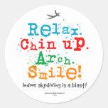 ¡Skydiving interior es una ráfaga! Etiquetas Redondas