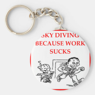 SKYDIVING BASIC ROUND BUTTON KEYCHAIN