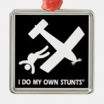 Skydiving My Own Stunts Square Metal Christmas Ornament