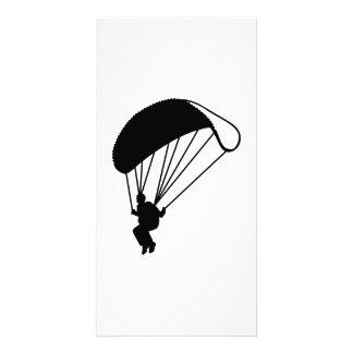 Skydiving parachutist photo greeting card