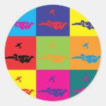 Skydiving Pop Art Round Stickers