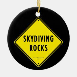 SKYDIVING ROCKS Road Sign Christmas Tree Ornaments