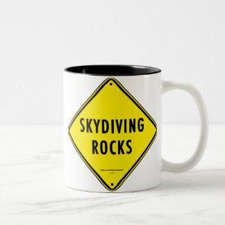 SKYDIVING ROCKS Road Sign Two-Tone Coffee Mug