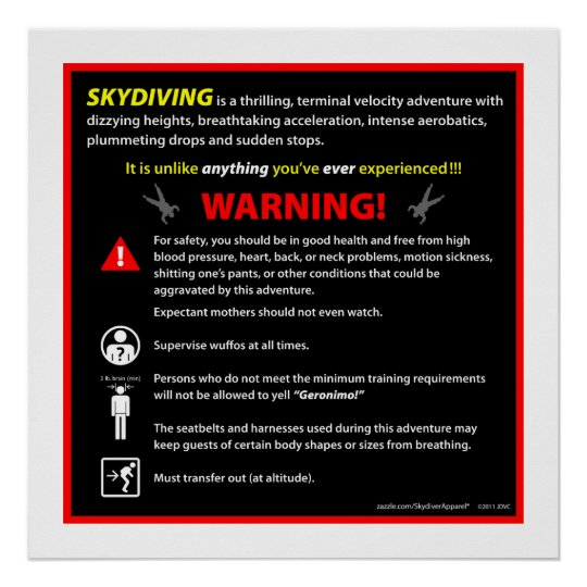 SKYDIVING Theme Park Warning Sign
