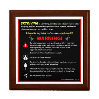 SKYDIVING Theme Park Warning Sign Keepsake Box
