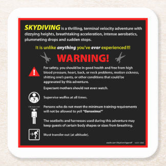 SKYDIVING Theme Park Warning Sign Square Paper Coaster