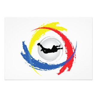 Skydiving Tricolor Emblem Custom Invitation