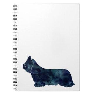 Skye Terrier Black Watercolor Silhouette Spiral Notebook