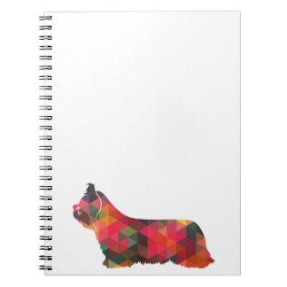 Skye Terrier Colorful Geometric Pattern Silhouette Notebook