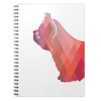 Skye Terrier Colorful Geometric Pattern Silhouette Spiral Notebook