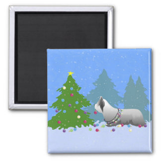 Skye Terrier Decorating Christmas Tree - Forest Magnet