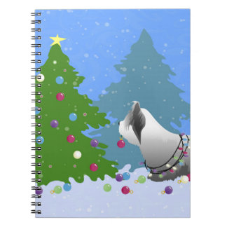 Skye Terrier Decorating Christmas Tree - Forest Spiral Notebook