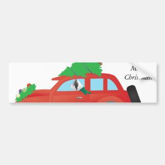 Skye Terrier Driving a Christmas Car Bumper Sticker