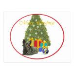 Skye Terrier en el árbol de navidad Postal