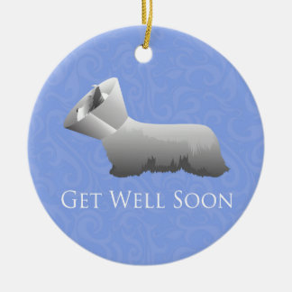 Skye Terrier Get Well Soon Design Ceramic Ornament