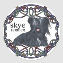 Skye Terrier in Celtic Knotwork Classic Round Sticker