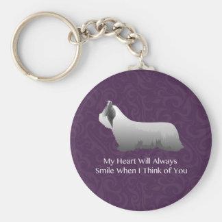 Skye Terrier que piensa en usted diseño Llavero Personalizado