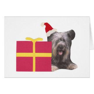 Skye Terrier Santa Hat Card