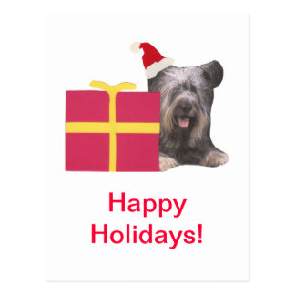 Skye Terrier Santa Hat Postcard