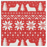 Skye Terrier Silhouettes Christmas Pattern Red Fabric