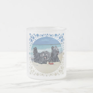 Skye Terriers, Beach Day! 10 Oz Frosted Glass Coffee Mug
