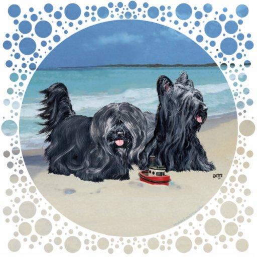 Skye Terriers, Beach Day! Statuette