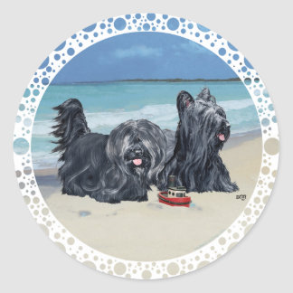 Skye Terriers, Beach Day! Round Stickers