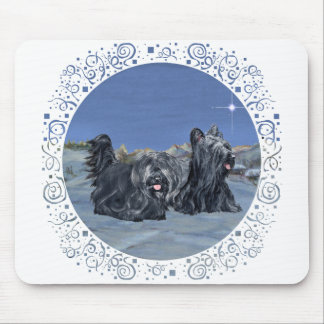 SKYE Terriers on a Winter Evening Mouse Pad
