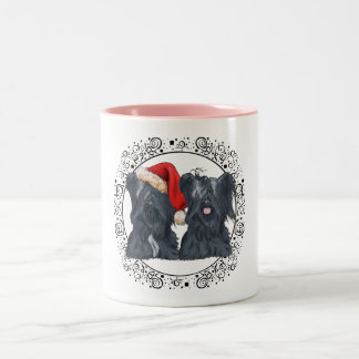 Skye Terriers Waiting for Santa Two-Tone Coffee Mug