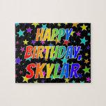 "[ Thumbnail: ""Skylar"" First Name, Fun ""Happy Birthday"" Jigsaw Puzzle ]"