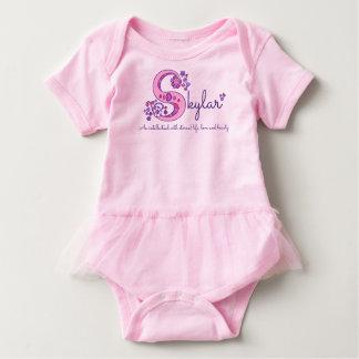 Skylar girls name & meaning S monogram baby romper
