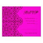 Skyler Bat Mitzvah RSVP Pink Brown Sweet 16 Card