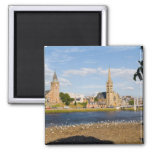 Skyline and river of quaint town of Inverness 2 Inch Square Magnet