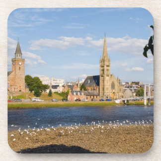 Skyline and river of quaint town of Inverness Beverage Coaster