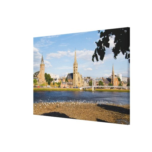 Skyline and river of quaint town of Inverness Gallery Wrap Canvas