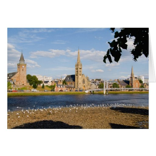 Skyline and river of quaint town of Inverness Card