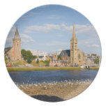 Skyline and river of quaint town of Inverness Dinner Plate