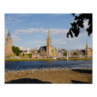 Skyline and river of quaint town of Inverness Poster