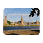 Skyline and river of quaint town of Inverness Vinyl Magnets