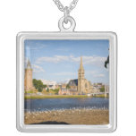 Skyline and river of quaint town of Inverness Square Pendant Necklace